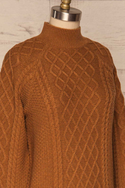Chimay Muscade Brown Knit Sweater  | SIDE CLOSE UP | La Petite Garçonne