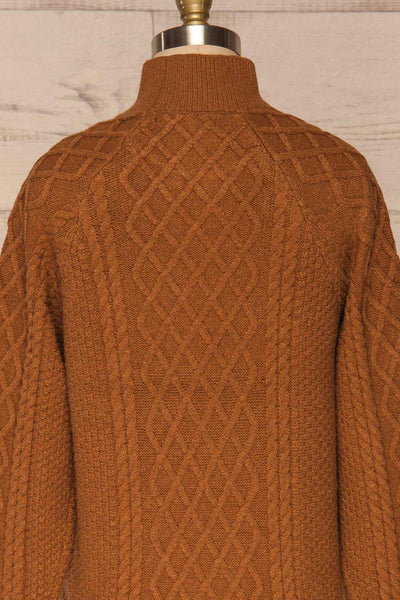Chimay Muscade Brown Knit Sweater | BACK CLOSE UP  | La Petite Garçonne