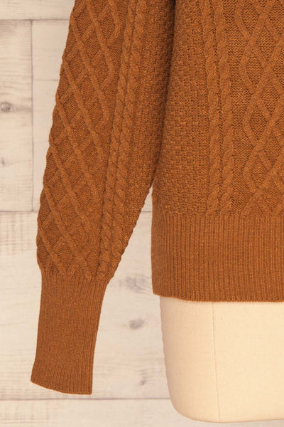 Chimay Muscade Brown Knit Sweater  | BOTTOM  CLOSE UP | La Petite Garçonne
