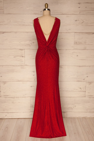 Chimborazo Red Mermaid Dress | Robe Rouge back view chain | La Petite Garçonne