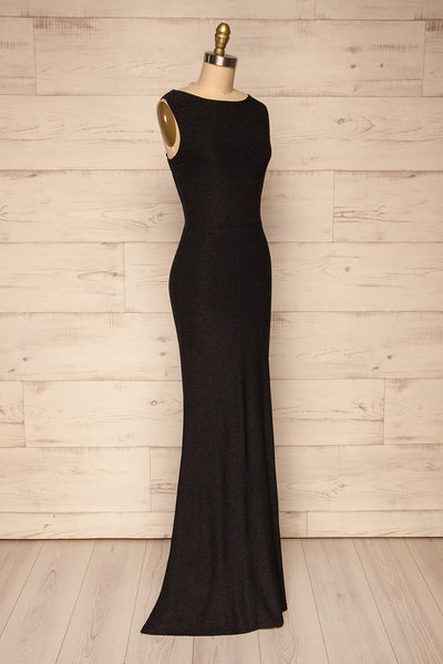 Chimborazo Black Mermaid Maxi Dress | La petite garçonne side view