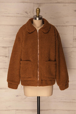 Chisinau Light Brown Wooly Fleece Coat | La Petite Garçonne