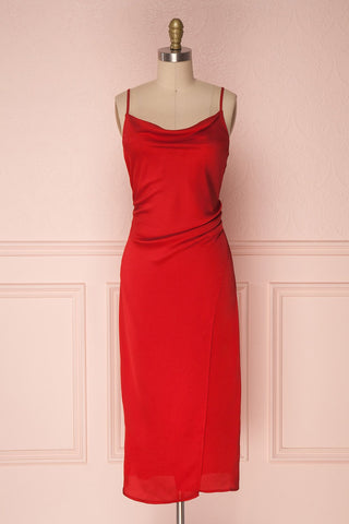Chloé Fire Red Silky Midi Slip Dress | Boutique 1861