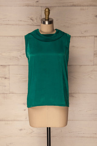 Chocen Green Sleeveless Silky Cowl Neck Top | La Petite Garçonne