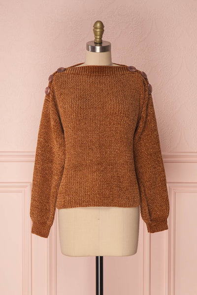 Chodrak Camel Knit Sweater with Buttoned Boat Neck | Boutique 1861