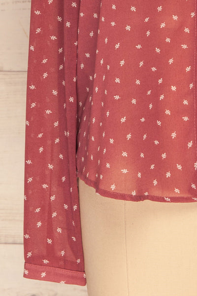 Chojnice Pink & White Floral Chiffon Shirt | BOTTOM CLOSE UP | La Petite Garçonne