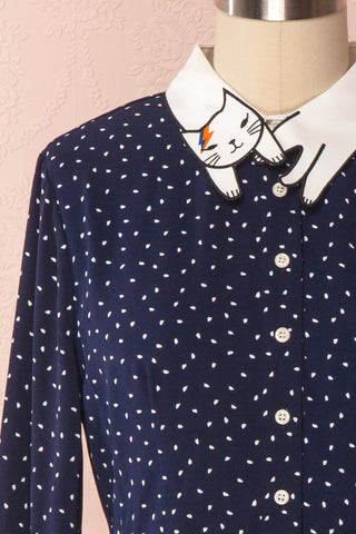 Cholena Navy Dress White Polkadots & Cat Collar | Boutique 1861