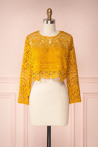 Chotella Mustard Yellow Lace Crop Top | Boutique 1861