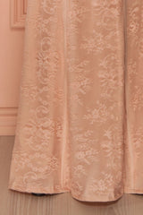 Christiana Blush - Light pink lace fitted bustier gown