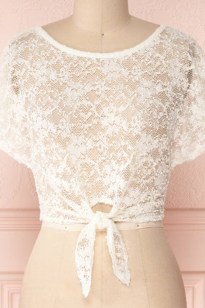 Christy Ivory Transparent Lace Crop Top | Boutique 1861 2