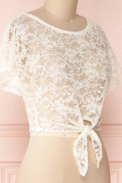 Christy Ivory Transparent Lace Crop Top | Boutique 1861 4