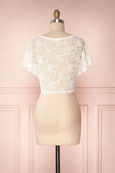 Christy Ivory Transparent Lace Crop Top | Boutique 1861 5