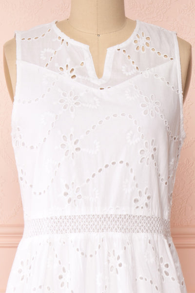 Chrysanthe White Openwork Lace Short Dress | Boutique 1861 front close-up