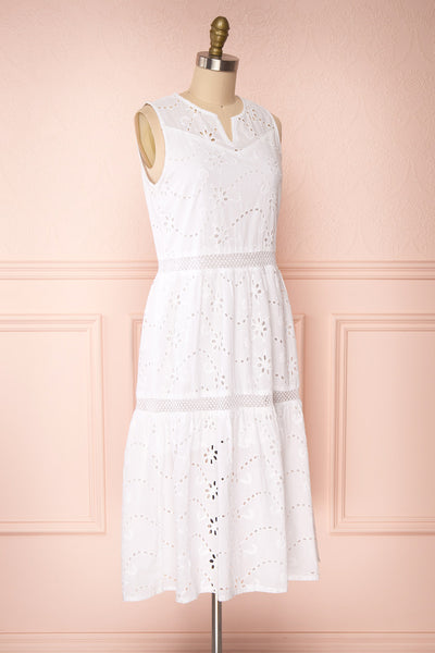 Chrysanthe White Openwork Lace Short Dress | Boutique 1861 side view
