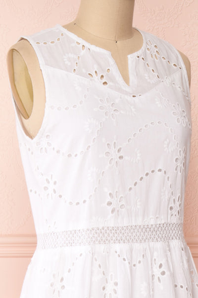 Chrysanthe White Openwork Lace Short Dress | Boutique 1861 side close-up