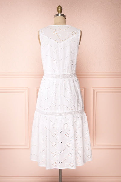 Chrysanthe White Openwork Lace Short Dress | Boutique 1861 back view