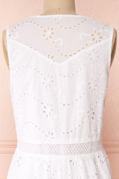 Chrysanthe White Openwork Lace Short Dress | Boutique 1861 back close-up
