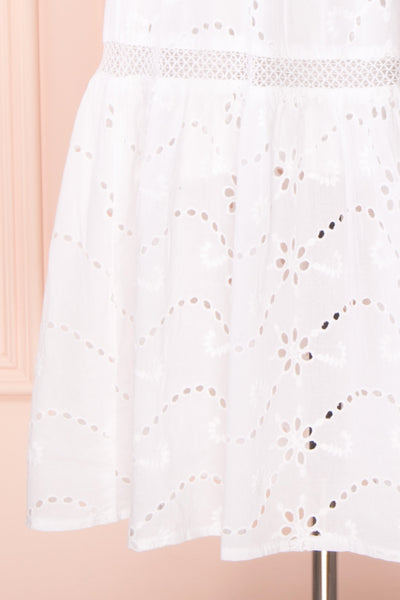Chrysanthe White Openwork Lace Short Dress | Boutique 1861 bottom