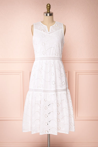 Chrysanthe White Openwork Lace Short Dress | Boutique 1861