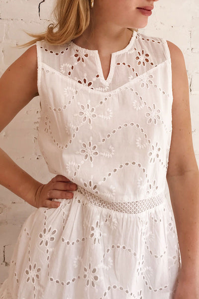 Chrysanthe White Openwork Lace Short Dress | Boutique 1861 on model