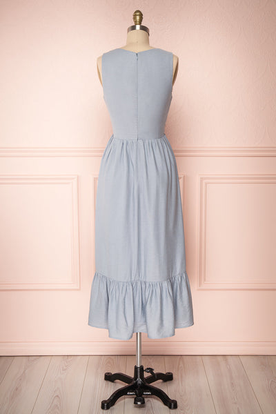 Chryssa Light Blue Sleeveless Midi A-Line Dress | Boutique 1861