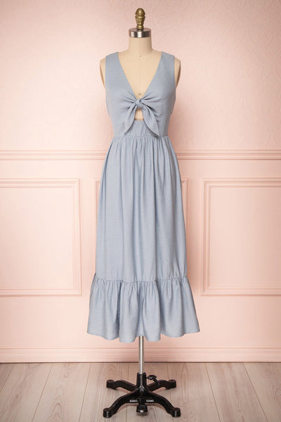 Chryssa Light Blue Sleeveless Midi Dress | Boutique 1861
