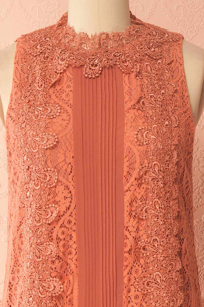 Ciaran Coral Pink Lace Shift Midi Dress | Boutique 1861