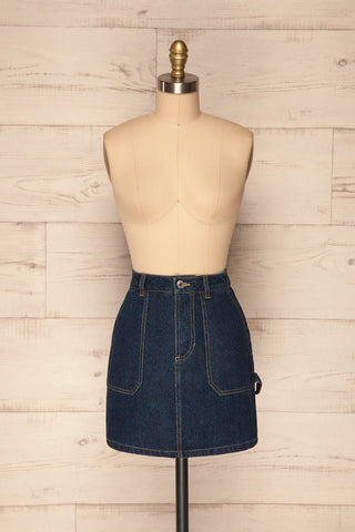 Cieszyn Dark Blue Denim Mini Skirt with Pockets | La Petite Garçonne front view
