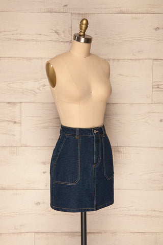 Cieszyn Dark Blue Denim Mini Skirt with Pockets | La Petite Garçonne side view