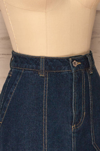 Cieszyn Dark Blue Denim Mini Skirt with Pockets | La Petite Garçonne side close-up