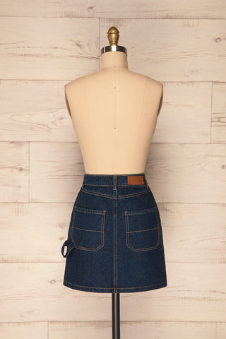 Cieszyn Dark Blue Denim Mini Skirt with Pockets | La Petite Garçonne back view