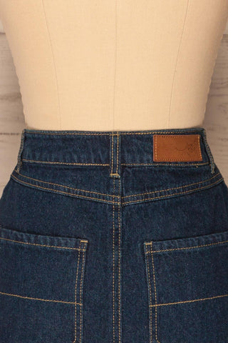 Cieszyn Dark Blue Denim Mini Skirt with Pockets | La Petite Garçonne back close-up