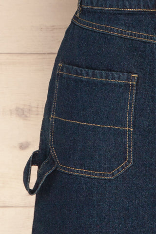 Cieszyn Dark Blue Denim Mini Skirt with Pockets | La Petite Garçonne back detail