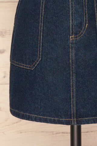 Cieszyn Dark Blue Denim Mini Skirt with Pockets | La Petite Garçonne bottom close-up