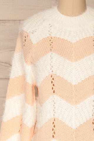 Cintia Light White & Blush Knit Sweater | La Petite Garçonne front close-up