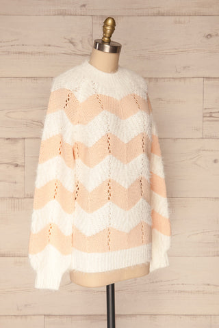 Cintia Light White & Blush Knit Sweater | La Petite Garçonne side view