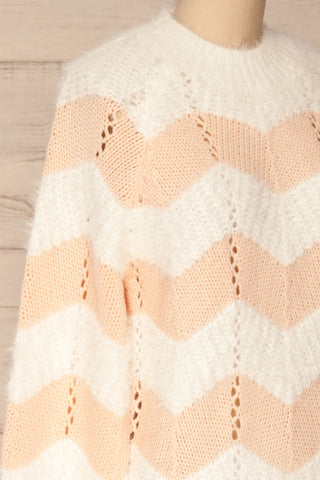Cintia Light White & Blush Knit Sweater | La Petite Garçonne side close-up