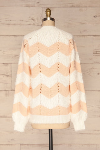 Cintia Light White & Blush Knit Sweater | La Petite Garçonne back view