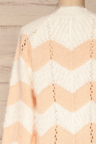 Cintia Light White & Blush Knit Sweater | La Petite Garçonne back close-up