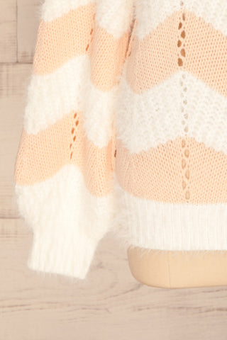 Cintia Light White & Blush Knit Sweater | La Petite Garçonne bottom close-up