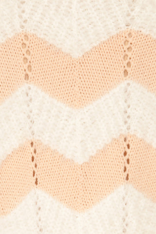 Cintia Light White & Blush Knit Sweater | La Petite Garçonne fabric detail