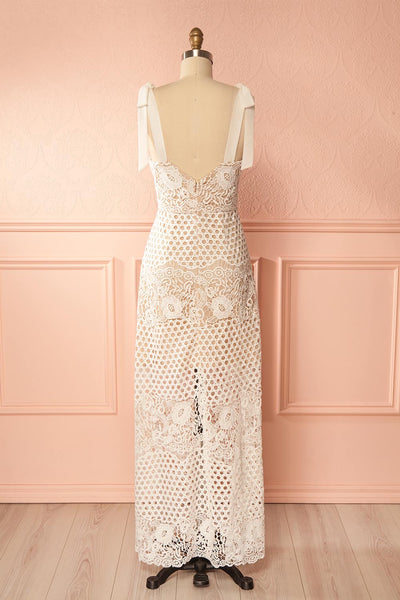 Cipher White Crocheted Lace Tied Straps Dress | Boudoir 1861