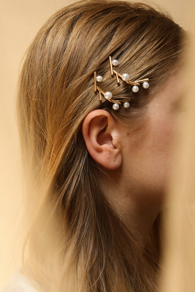 Citrinus Golden Branch Hair Clips with Pearls | La Petite Garçonne on model