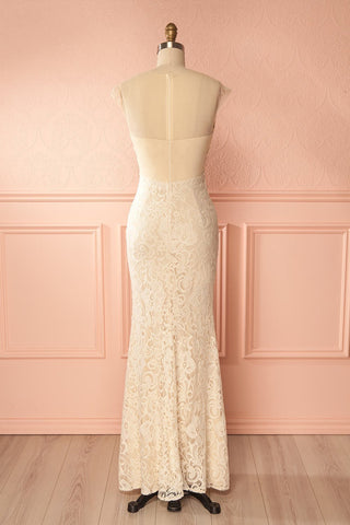 Cléa Crème Light Beige Lace Mermaid Gown | Boudoir 1861