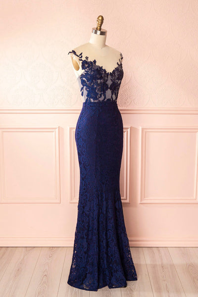 Cléa Marin Navy Blue Lace Mermaid Gown | Boudoir 1861