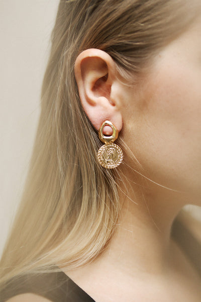 Clementia Gold Pendant Earrings with Medallion | La Petite Garçonne on model