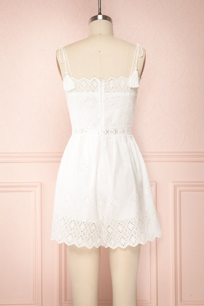 Clichy Blanc White High Waisted Romper back view | Boutique 1861