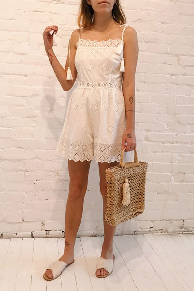 Clichy Blanc White High Waisted Romper | Boutique 1861 model look