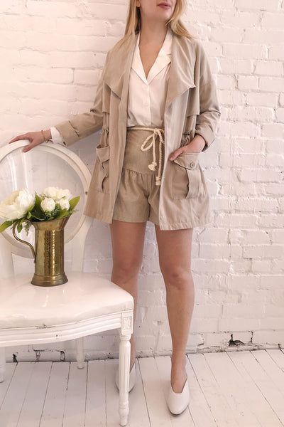 Damery Beige Grey Loose Jacket | La petite garçonne model look