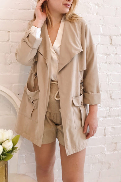 Damery Beige Grey Loose Jacket | La petite garçonne on model